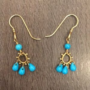 Anthropologist Turquoise Drop Down Earrings